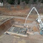 The powerhouse foundations being poured